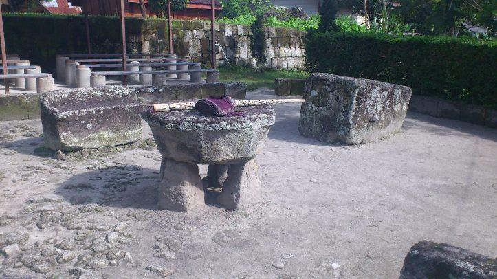 Cannibal table on Samosir, Lake Toba, Sumatra